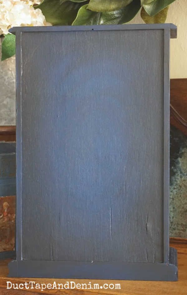 back of finished blue jewelry cabinet