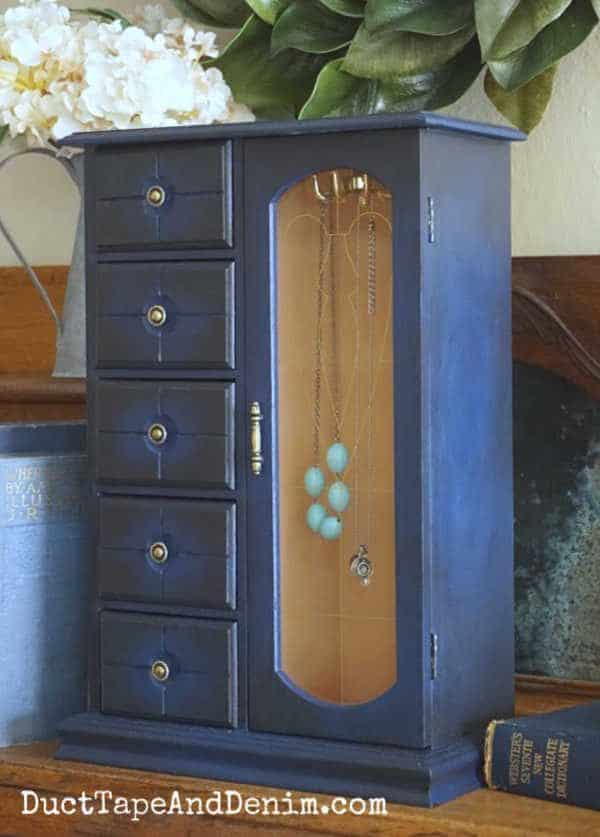 blue jewelry cabinet with Dixie Belle paint