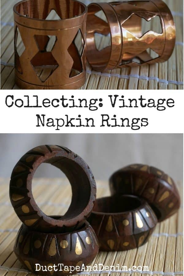 vintage napkin rings, collage 1