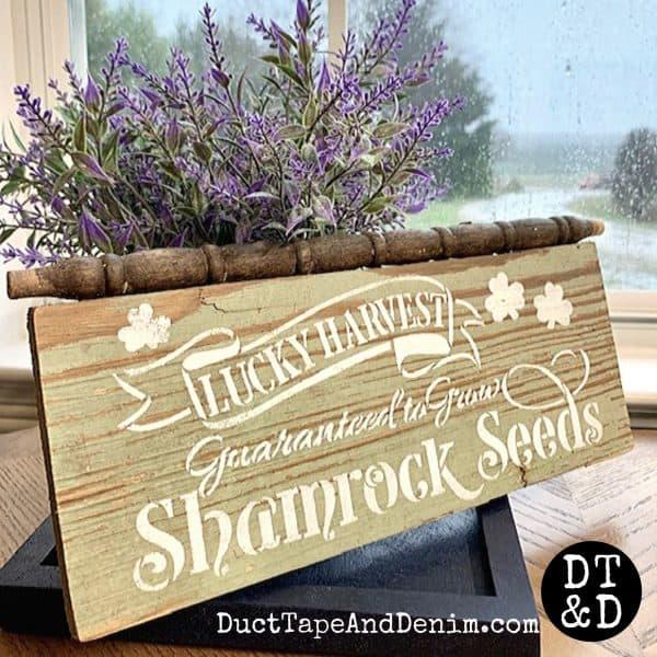 Shamrock seeds sign on old board
