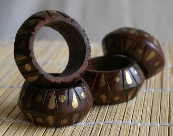 boho gold wooden rings for napkins