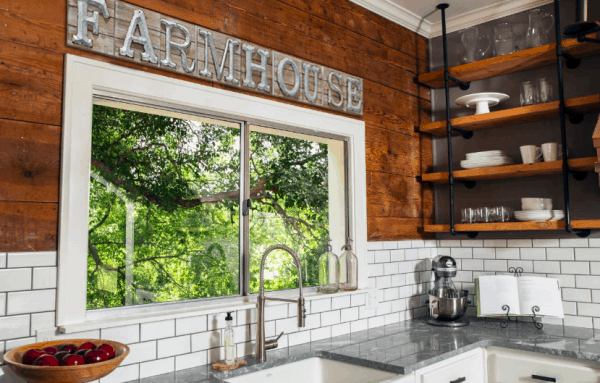 farmhouse sign with galvanized letters in kitchen