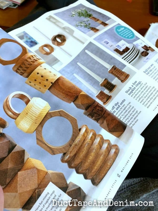 vintage napkin rings in country living magazine