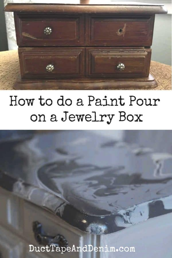 gray paint pour jewelry box, collage 1