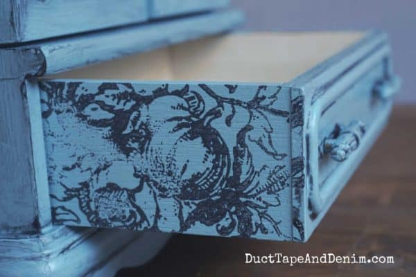 stamped drawer sides on jewelry box
