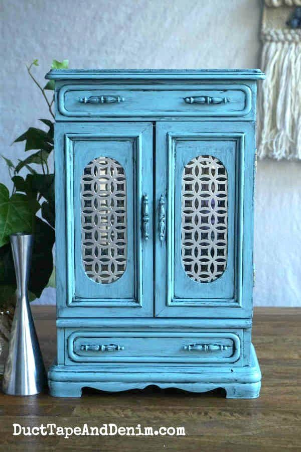 Finished blue glazed jewelry cabinet with DecoArt paint and Iron Orchid stamps