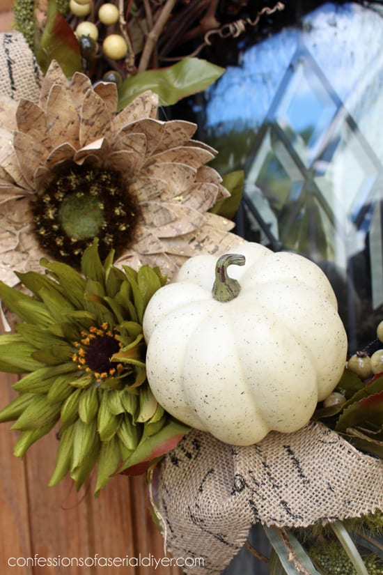 fall wreath with one pumpkin