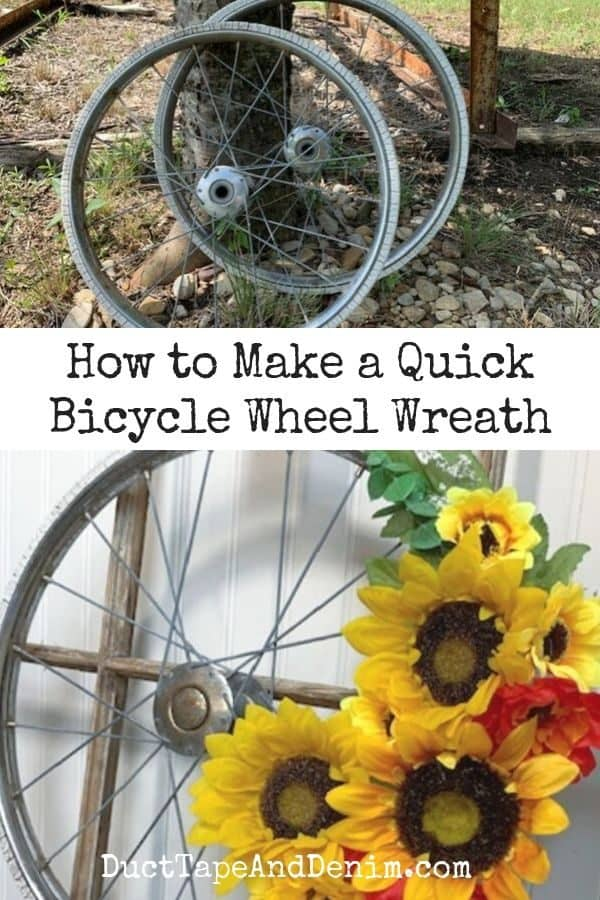 how to make a quick bicycle wheel wreath, collage 1