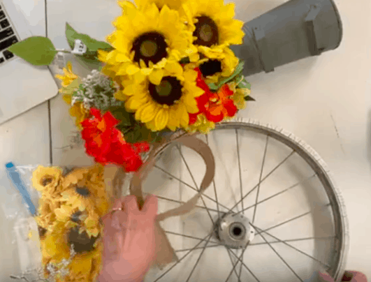 bicycle wheel wreath supplies