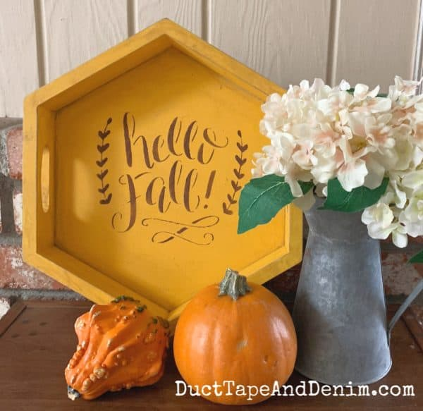 finished hello fall stencil tray