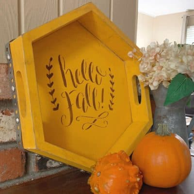 How to Make a Tray with a Hello Fall Stencil {VIDEO}