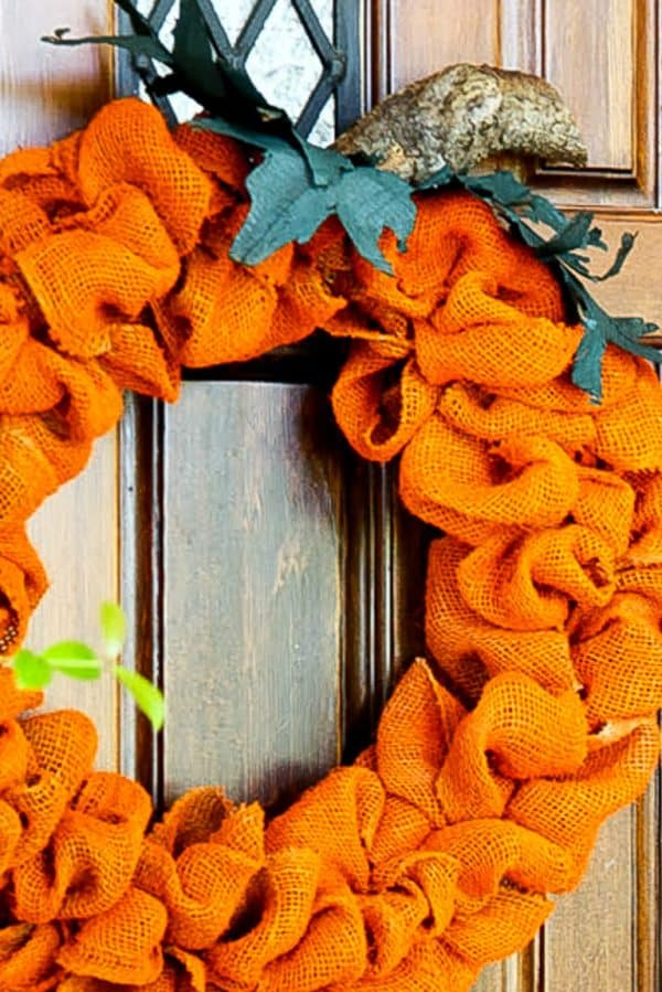orange burlap wreath