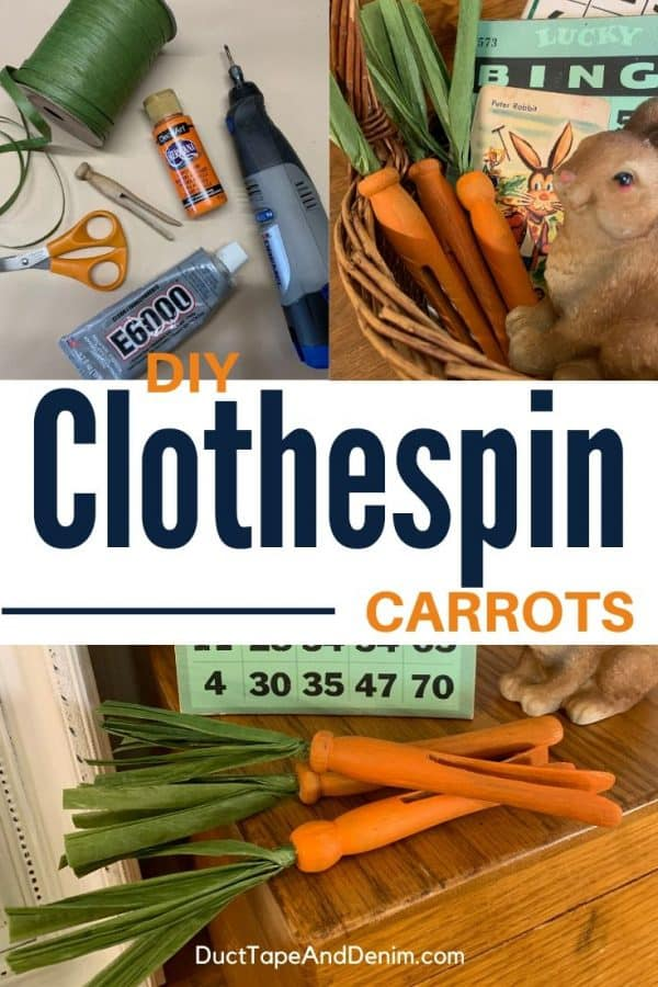 diy clothespin carrots collage