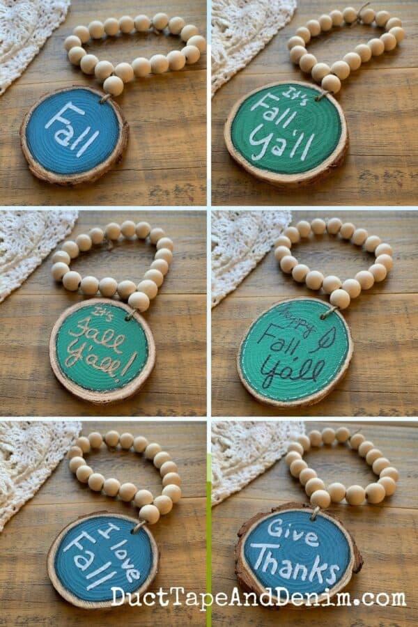 6 designs for wood bead garland loop ornaments
