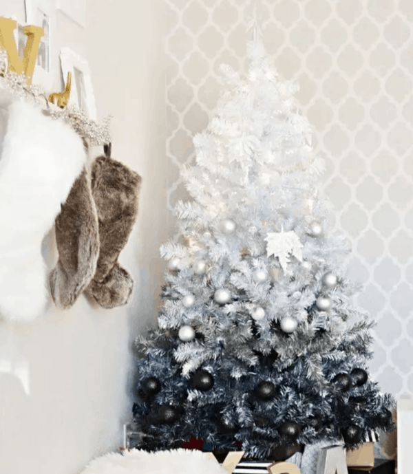 black and white ombre christmas tree