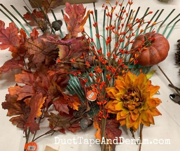 supplies used for fall rake wreath