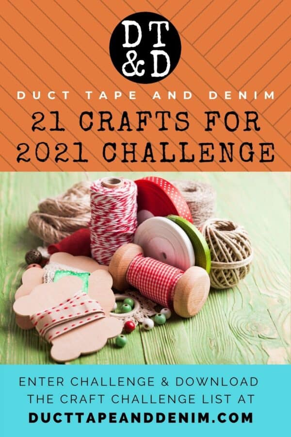 Pinterest title page for 21 Crafts for 2021 Craft Challenge