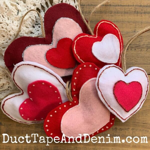 red pink white felt heart valentine or christmas ornaments